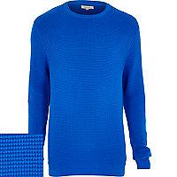 Blue waffle textured jumper