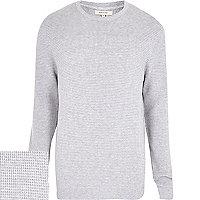 Grey waffle textured jumper