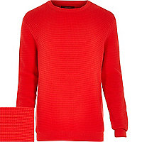Red waffle textured jumper
