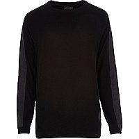 Black contrast panel longer length jumper