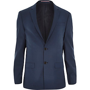 Blue wool-blend slim suit