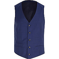 Navy blue wool-blend button up waistcoat