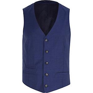 Navy blue wool-blend button up vest