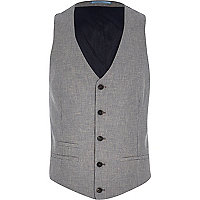 Grey dogtooth single breasted waistcoat