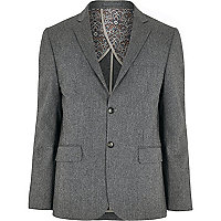 Grey herringbone suit jacket