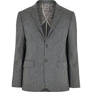 Grey herringbone wool-blend blazer