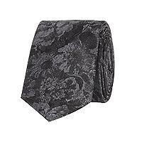 Grey floral jacquard tie