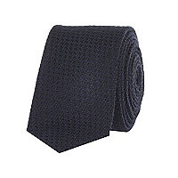 Navy textured knit tie
