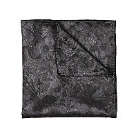 Grey floral jacquard pocket square