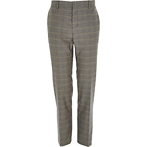 Grey check smart slim trousers