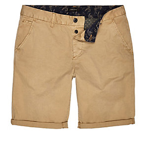Brown tan slim chino shorts
