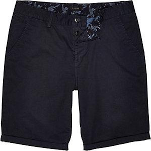 Navy slim chino shorts