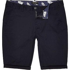 Navy skinny chino shorts