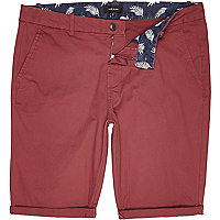 Red skinny chino shorts