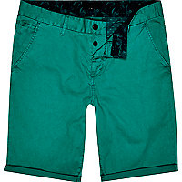 Green slim chino shorts