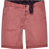 Pink slim chino shorts