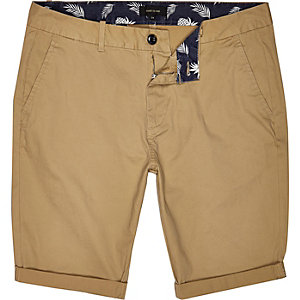 Brown tan skinny chino shorts