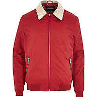 Red shearling collar jacket