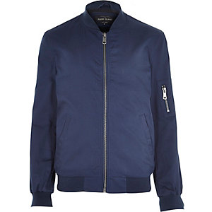 Blue casual bomber jacket