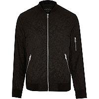 Black camo print bomber jacket