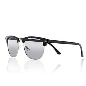 Black half frame retro sunglasses