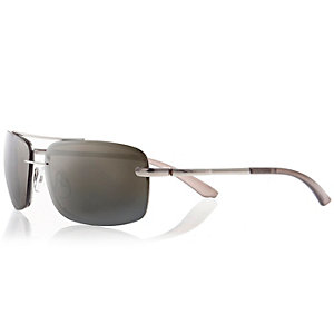 Silver tone wrap aviator sunglasses