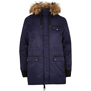 Blue faux fur trimmed parka jacket
