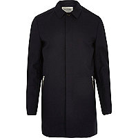 Navy smart zip pocket mac coat