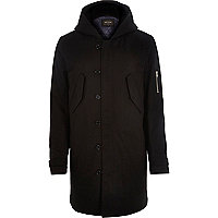 Black smart longer length parka jacket