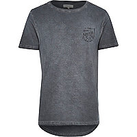 Grey motor cycle curved hem t-shirt