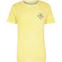 Yellow washed USA print t-shirt