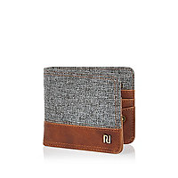 Grey textured blocking foldover wallet