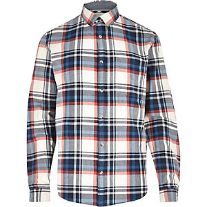 White long sleeve check shirt