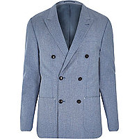 Blue premium double breasted slim blazer
