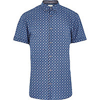 Blue tile print short sleeve shirt