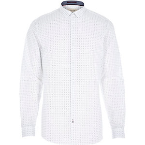 White spot print long sleeve shirt
