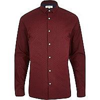 Red polka dot print long sleeve shirt