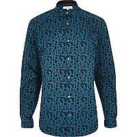 Green leopard print long sleeve shirt
