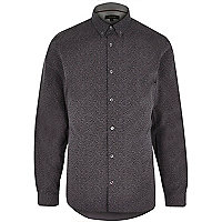 Grey ditsy woven long sleeve shirt