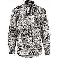 Ecru scratch print long sleeve shirt