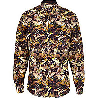 Purple hummingbird print long sleeve shirt