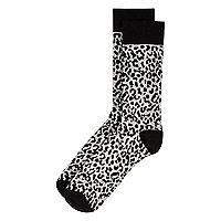 Grey leopard print socks