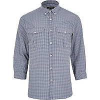 Blue fine check print shirt