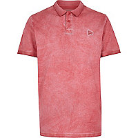 Red washed short sleeve polo shirt