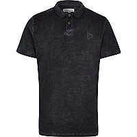 Grey washed short sleeve polo shirt
