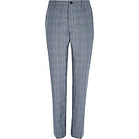 Blue check slim trousers