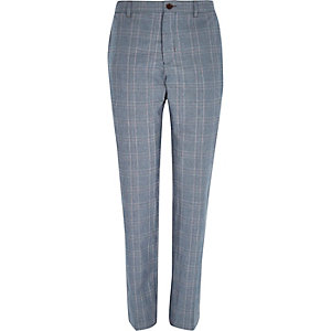 Blue check slim pants