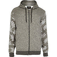 Grey floral sleeve zip through hoodie