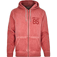 Red distressed zip through hoodie