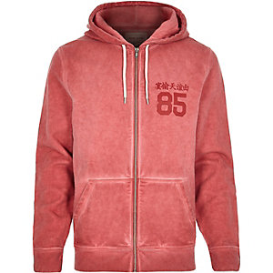 Red distressed zip through hoodie